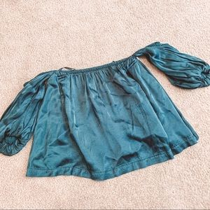 Urban Outfitters teal off the shoulder satin top